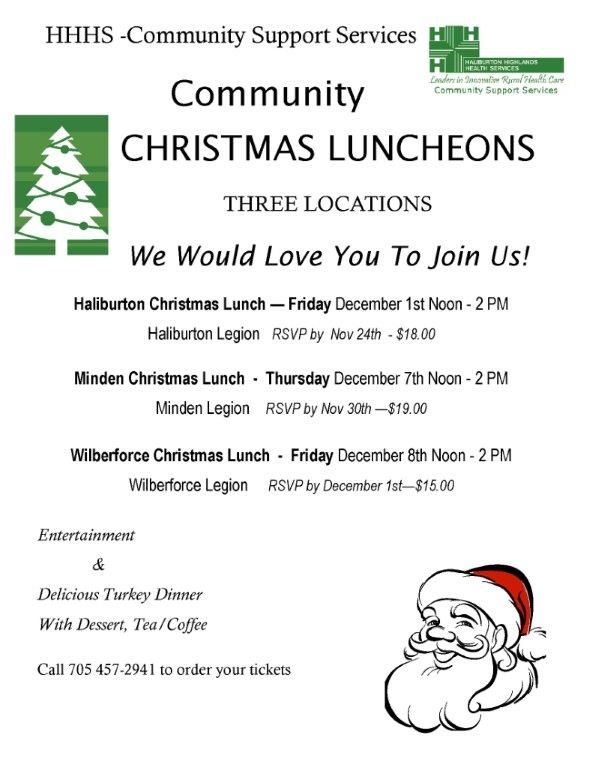 Community Christmas Luncheons in Haliburton, Minden and Wilberforce @ See below