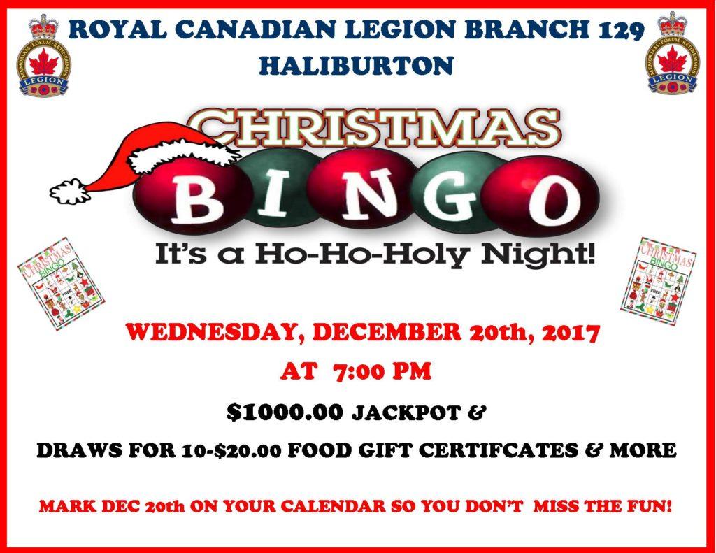 Haliburton Legion  Christmas Bingo @ Royal Canadian Legion Branch 129 | Haliburton | Ontario | Canada