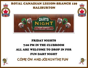 Friday Night Fun Dart Night @ Royal Canadian Legion Branch 129 | Haliburton | Ontario | Canada