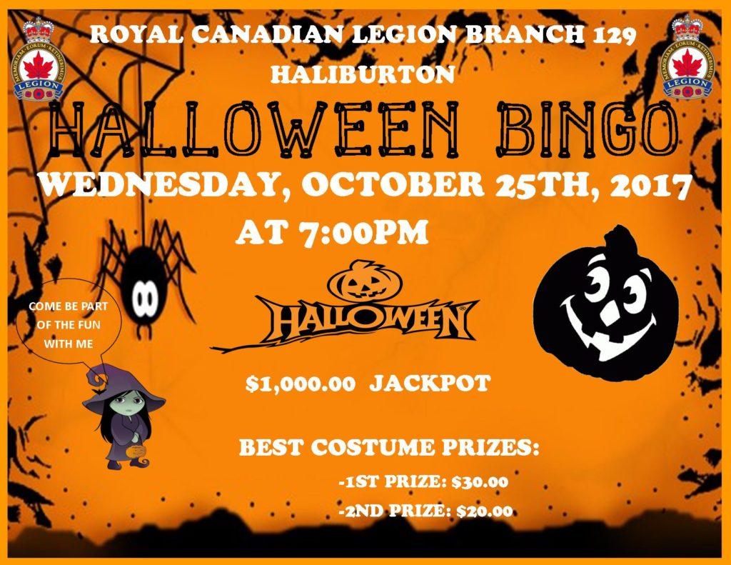 Haliburton Legion Halloween Bingo Bash @ Royal Canadian Legion Branch 129 | Haliburton | Ontario | Canada