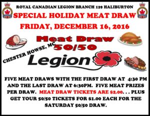 Haliburton Legion Meat Draw @ Haliburton Legion | Haliburton | Ontario | Canada