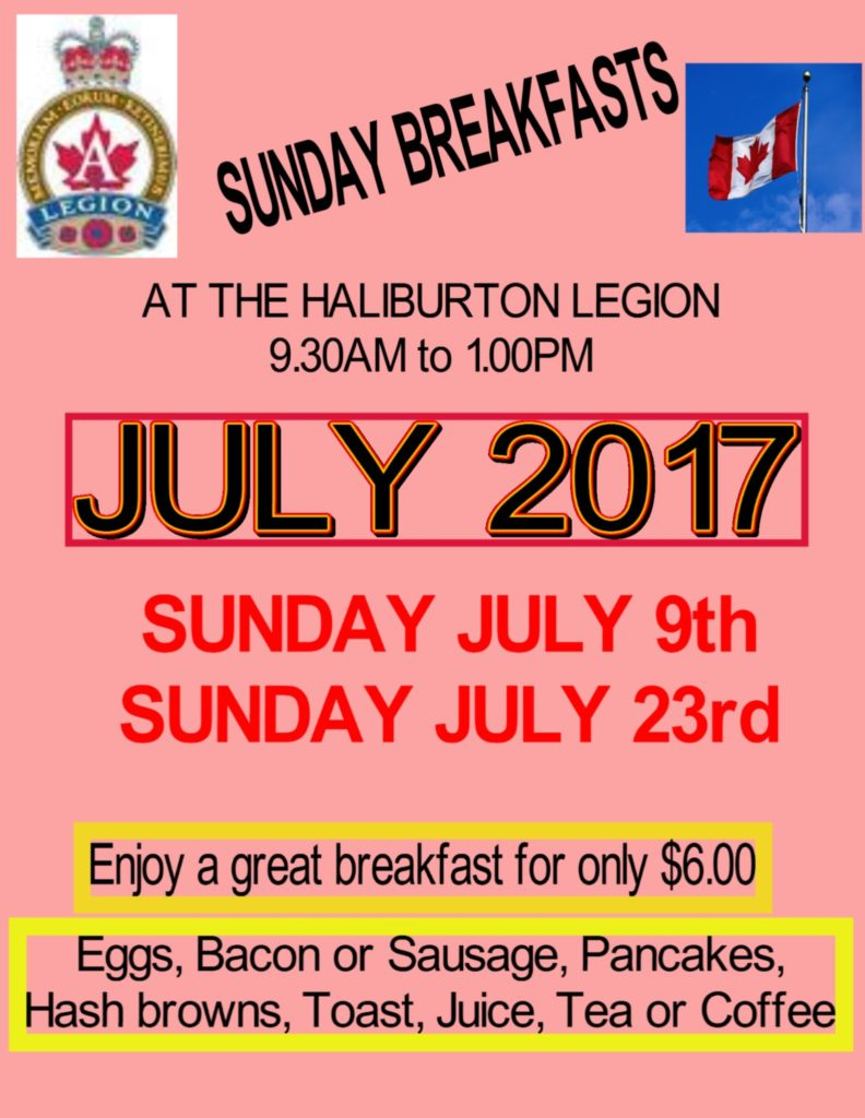 Breakfast at the Haliburton Legion @ Royal Canadian Legion Branch 129 Haliubrton | Haliburton | Ontario | Canada