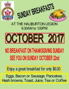 NO Breakfast at the Haliburton Legion on October 8, 2017 @ Royal Canadian Legion Branch 129 Haliubrton | Haliburton | Ontario | Canada