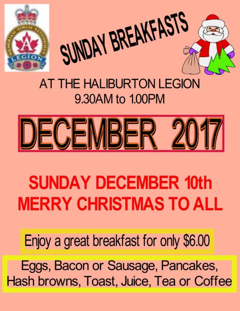 NO Breakfast at the Haliburton Legion on December 24th @ Royal Canadian Legion Branch 129 Haliubrton | Haliburton | Ontario | Canada