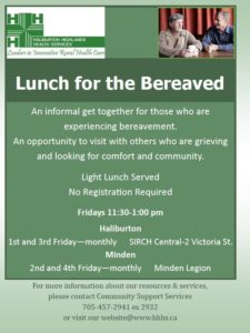 Lunch for the Bereaved (Haliburton) @ SIRCH Central | Haliburton | Ontario | Canada