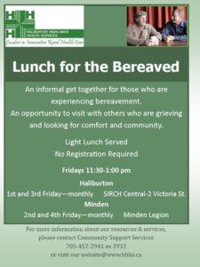 Lunch for the Bereaved (Haliburton) @ SIRCH Central | Haliburton | Ontario | Canada