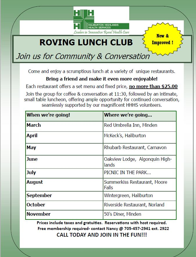 Roving Lunch Club with Community Support Services @ Various locations