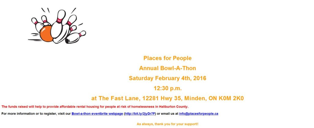 Places for People Annual Bowl-A-Thon @ The Fast Lane | Minden | Ontario | Canada