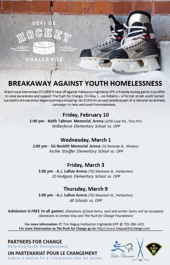 Hockey Challenge:  Breakaway Against Youth Homelessness @ Various Haliburton County Hockey Arenas (see posters)