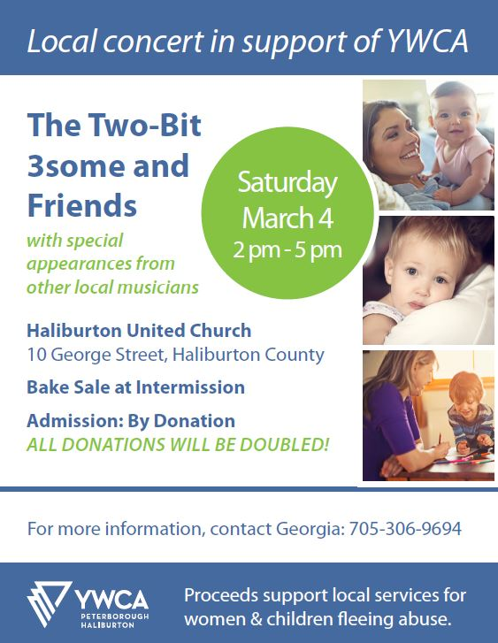 The Two-Bit 3some and Friends Concerts to Support HER @ Haliburton United Church | Haliburton | Ontario | Canada