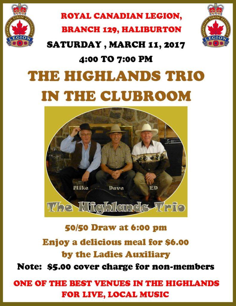Haliburton Legion Presents the Highland Trio in the Clubroom @ Royal Canadian Legion Branch 129 Haliburton | Haliburton | Ontario | Canada