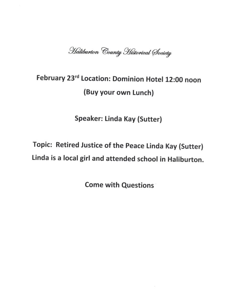 Haliburton County Historical Society Meeting @ Dominion Hotel | Minden | Ontario | Canada