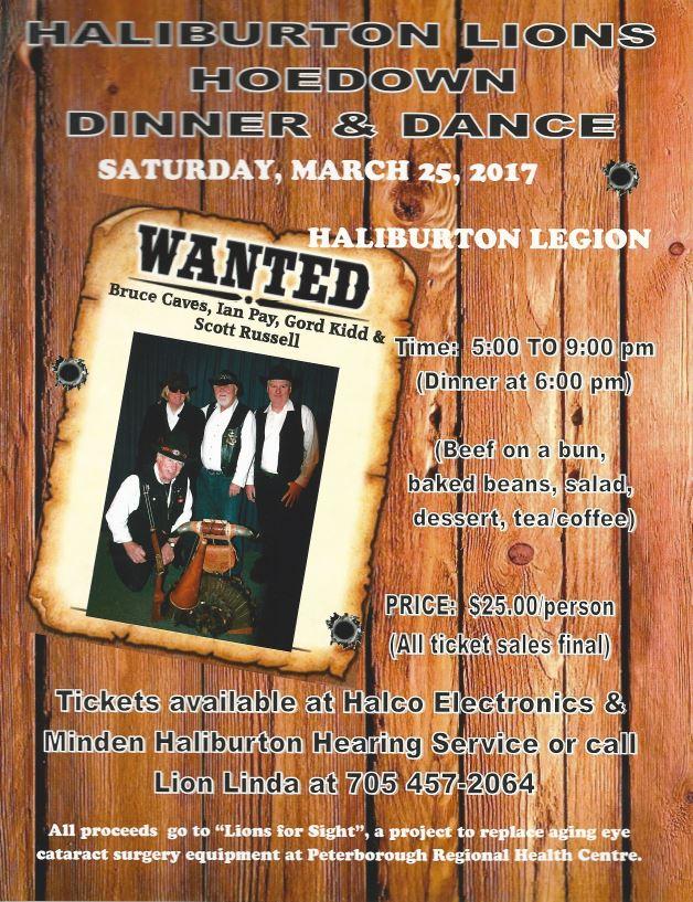 Haliburton Lions Hoedown Dinner Dance at the Haliburton Legion @ Royal Canadian Legion Branch 129 Haliburton | Haliburton | Ontario | Canada