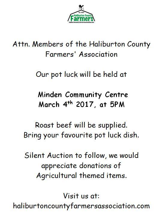 Haliburton County Farmers' Association Potluck Dinner Meeting @ Minden Hills Community Centre | Minden | Ontario | Canada