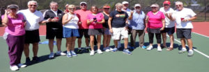 Canoe FM listener, George Wynott sent a photo of the Algonquin Highlands' tennis players reunion at North Port, Florida. Canoe FM gear travels far and wide.
