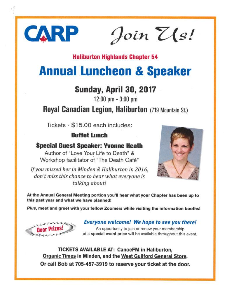 Haliburton Highlands CARP Chapter 54 Annual Luncheon & Speaker at the Haliburton Legion @ Royal Canadian Legion Branch 129 Haliburton | Haliburton | Ontario | Canada