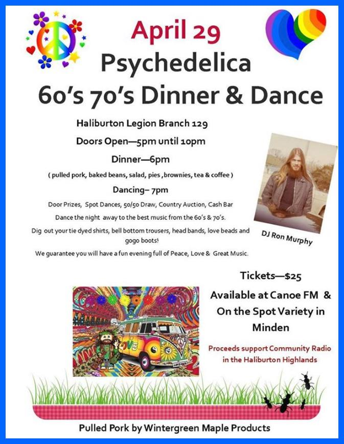 Canoe's Psychedilica 60's 70's Dinner Dance at the Haliburton Legion @ Haliburton Legion | Haliburton | Ontario | Canada
