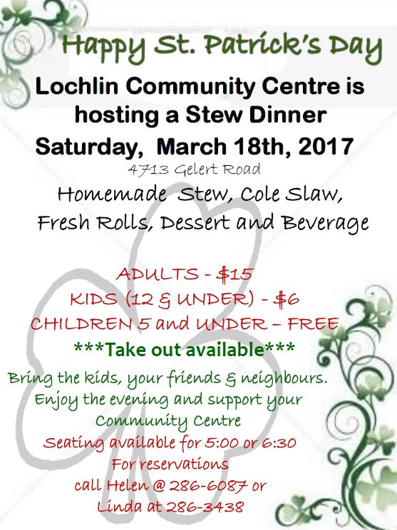 St Patrick Stew Dinner at the Lochlin Community Centre @ Lochlin Community Centre | Lochlin | Ontario | Canada