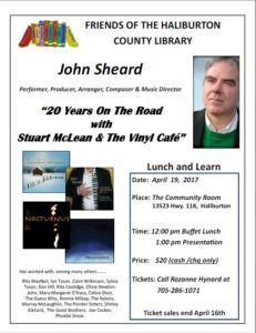 Friends of the Haliburton County Public Library Lunch & Learn with John Sheard @ The Community Room | Haliburton | Ontario | Canada