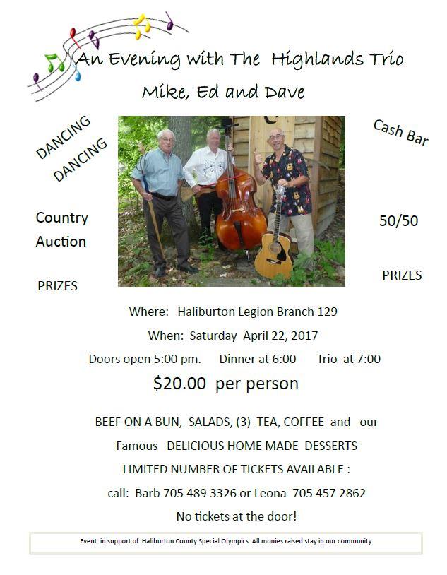 An Evening with 'The Highlands Trio' Fundraiser for the Haliburton County Special Olympics @ Haliburton Royal Canadian Legion Branch 129 | Haliburton | Ontario | Canada