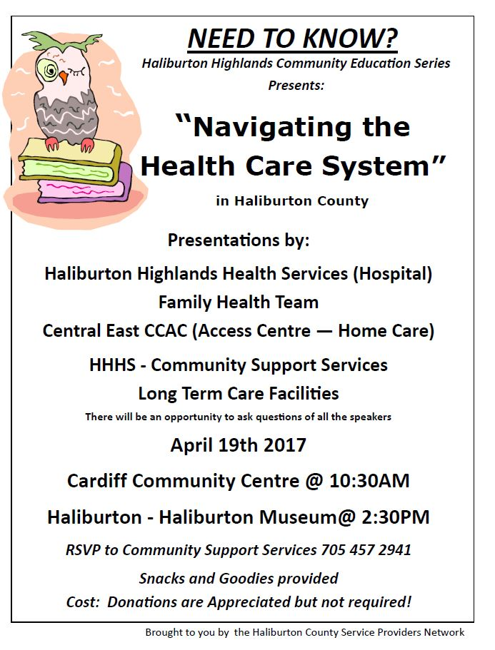 Navigating the Health Care System Presentation:  Cardiff at 10:30 and Haliburton at 2:30 @ See poster below for complete details | Cardiff | Ontario | Canada