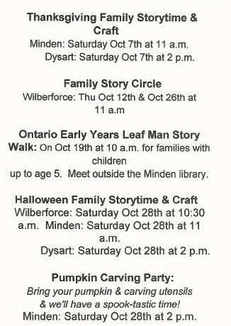 Family Storytime at the Minden, Wilberforce & Dysart Branch Library @ See below | Wilberforce | Ontario | Canada