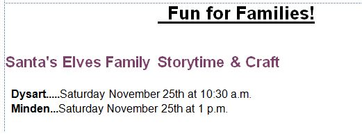 Family Storytime at the Minden& Dysart Branch Library @ See below | Wilberforce | Ontario | Canada