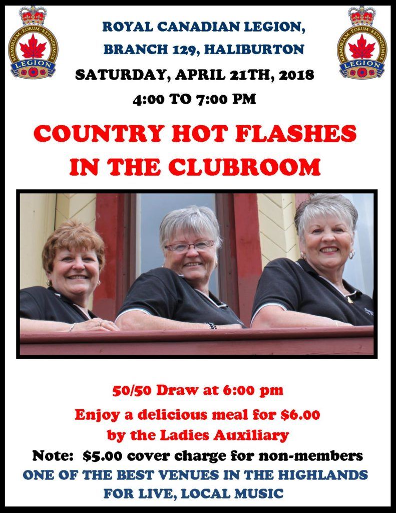 The Country Hot Flashes in the Haliburton Legion Clubroom @ Royal Canadian Legion Branch 129 Haliburton | Haliburton | Ontario | Canada