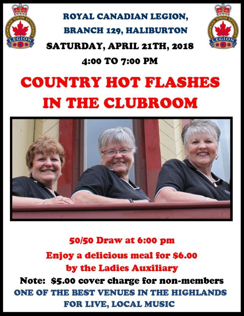 The Country Hot Flashes in the Haliburton Legion Clubroom @ Royal Canadian Legion Branch 129 Haliburton | Haliburton | Ontario | Canada