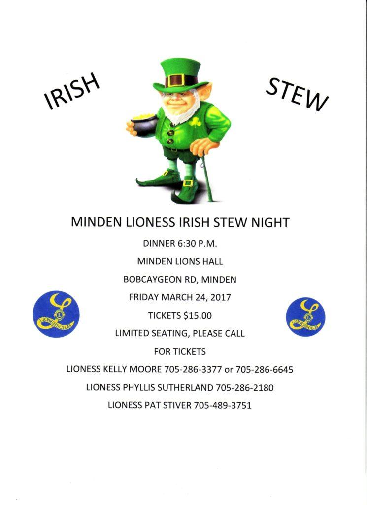 Minden Lioness Irish Stew Night @ Minden Lions Hall | Minden | Ontario | Canada