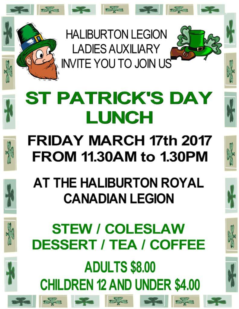 Haliburton Legion's St Patrick Day Lunch @ Royal Canadian Legion Branch 129 Haliburton | Haliburton | Ontario | Canada