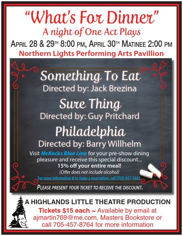 """""""What's For Dinner""""  A Night of One Act Plays @ Northern Lights Performing Arts Pavilion 