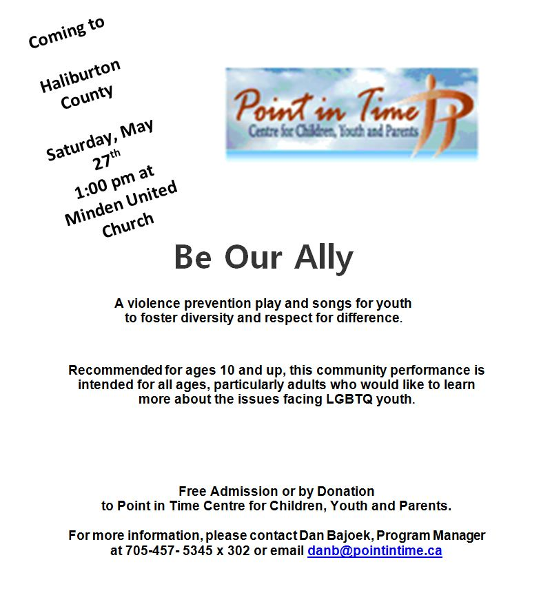 """Be Our Ally"" play presented by Point in Time @ Minden United Church 