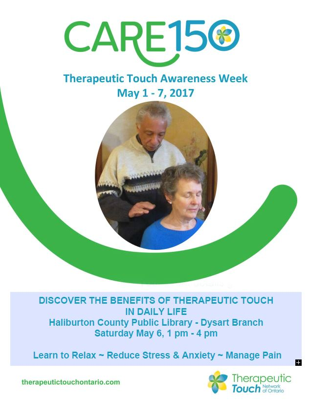 Therapeutic Touch Awareness Week May 1-7th:  Presentation at Dysart on May 6th @ Dysart Branch Library | Ontario | Canada