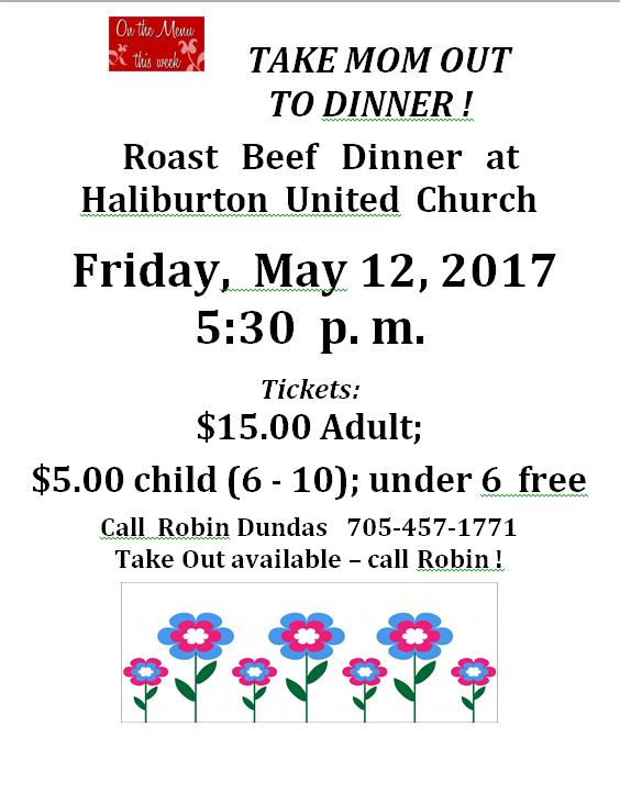 Take Mom Out for a Roast Beef Dinner at the Haliburton United Church @ Haliburton United Church | Haliburton | Ontario | Canada