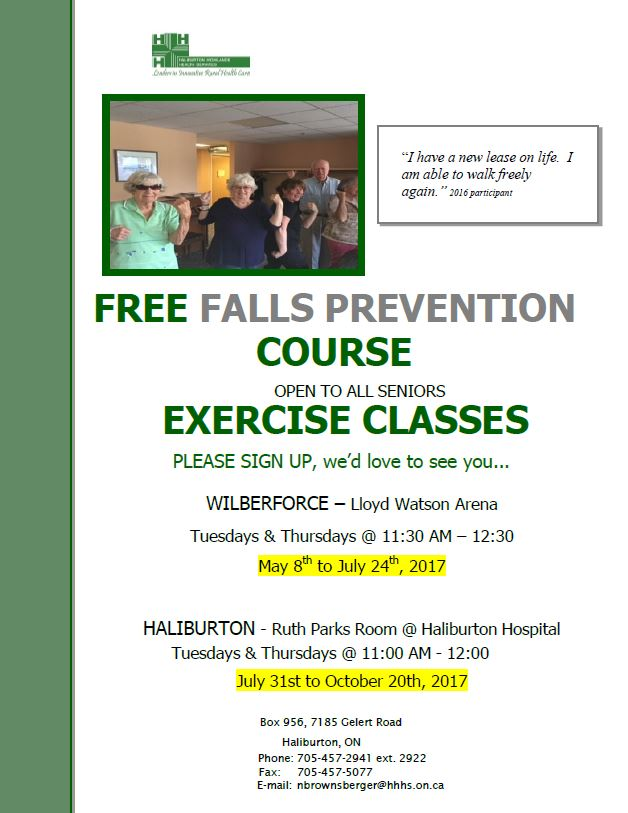 Free Falls Prevention Course in Haliburton 11am to 12pm @ Haliburton Hospital-Ruth Parks Room | Haliburton | Ontario | Canada