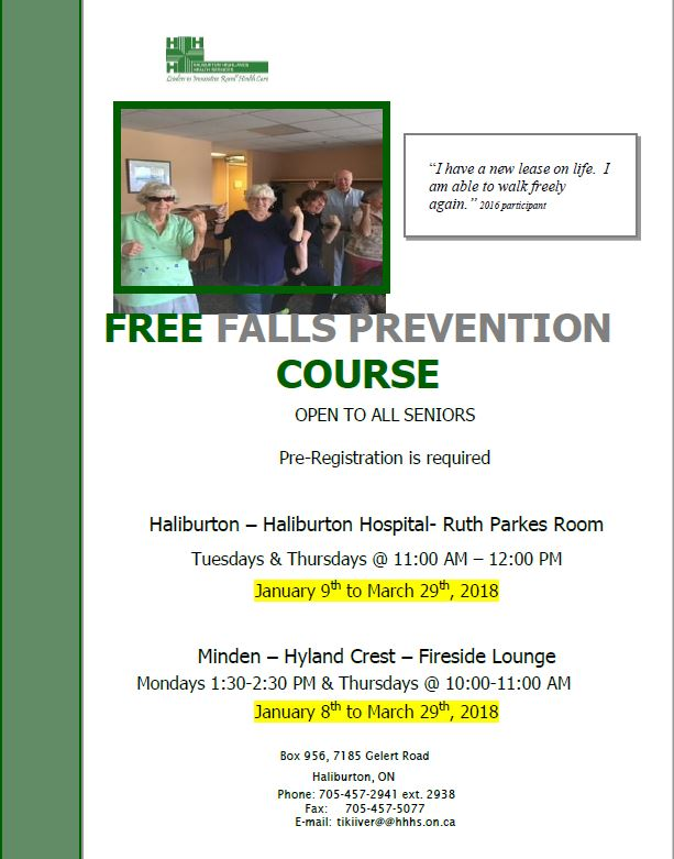 Free Falls Prevention Course in Minden @ Minden Hyland Crest Fireside Lounge | Minden | Ontario | Canada