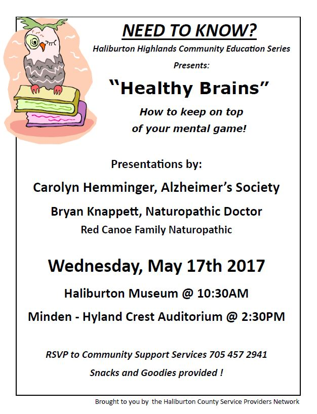 """Healthy Brain"" by the Haliburton Highlands Community Education Series in Minden @ Minden, Hyland Crest Auditorium 