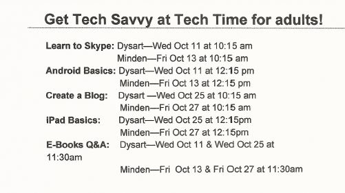 Tech Time at the Minden & Dysart Libraries for Adults @ See below | Minden | Ontario | Canada