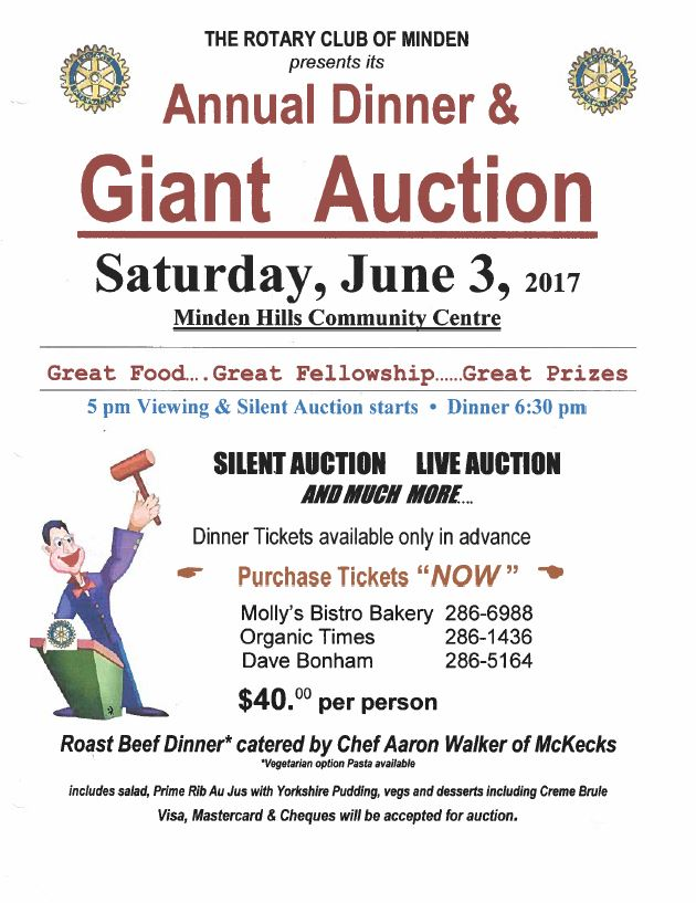 Rotary Club of Minden's Annual Dinner & Giant Auction @ Minden Hills Community Centre | Minden | Ontario | Canada