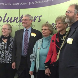 The 5 Year Ontario Volunteer Service Award for Canoe FM recipients on May 5, 2017 are Heather Lindsay, Bob Stiles, Wendy Bateman, Barb Parish & Ron Evans (absent is Lorraine McNeil)