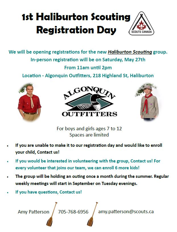 1st Haliburton Scouting Registration Day for Boys and Girls 7-12 years @ Algonquin Outfitters | Haliburton | Ontario | Canada