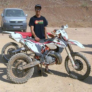Nikolaus von Guggenberg at an enduro race in Erzberg Austria. He got the tee shirt here at the station when he was visiting last summer.
