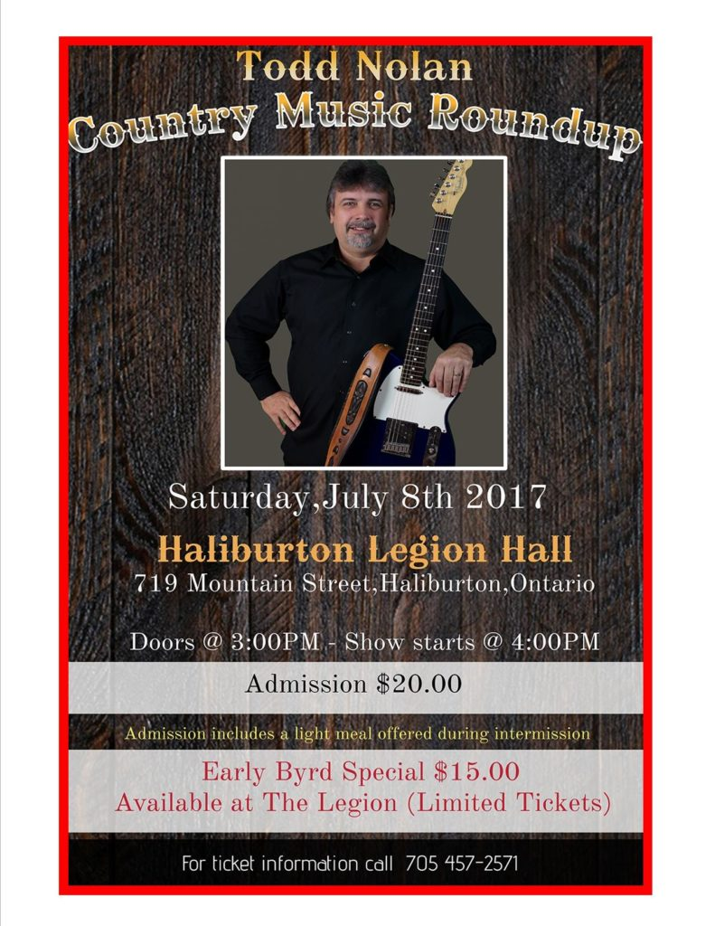 Haliburton Legion Presents Todd Nolan & Band for a Country Music Roundup in the Main Hall @ Royal Canadian Legion Branch 129 Haliburton | Haliburton | Ontario | Canada