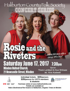 Rosie and the Riveters Concert at the Minden United Church @ Minden United Church | Minden | Ontario | Canada