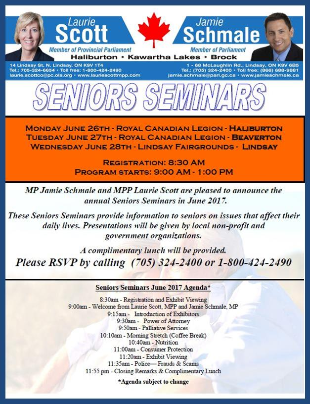 Senior Seminars in Haliburton, Beaverton and Lindsay @ See poster below for complete details