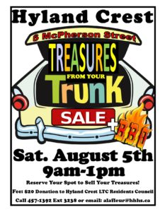 """Treasures From Your Trunk Sale"" @ Hyland Crest (attached to Minden Hospital) 