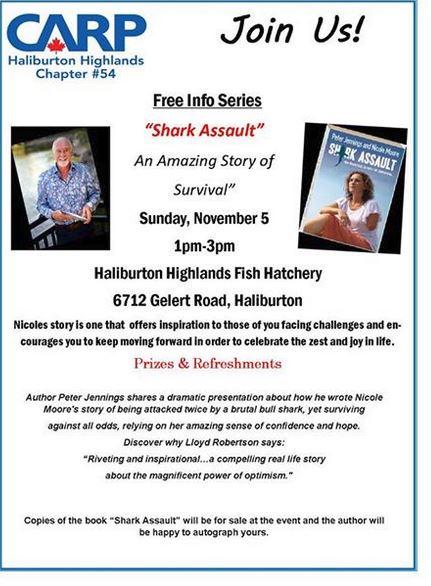 "CARP - Free Info Series-with author Peter Jennings talking about ""Shark Assault"" @ Haliburton Highlands Fish Hatchery | Ontario | Canada"