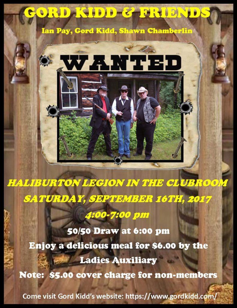 Gord Kidd & Friends  in the Haliburton Legion Clubroom @ Royal Canadian Legion Branch 129 Haliburton | Haliburton | Ontario | Canada