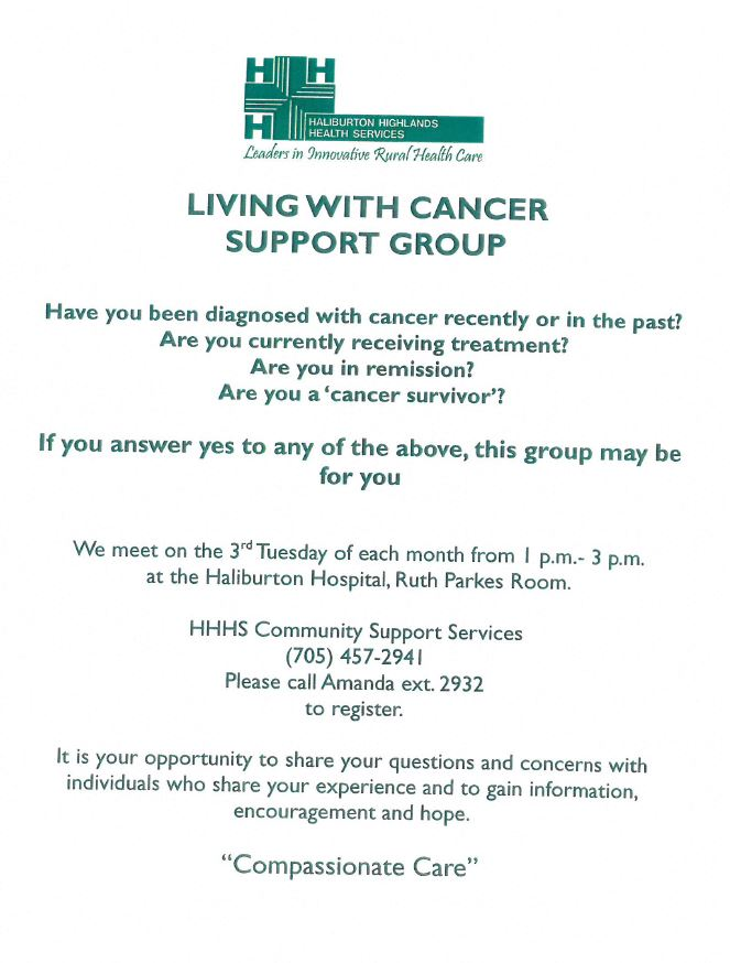 """Living With Cancer"" Support Group @ Haliburton Hospital-Ruth Parks Room 